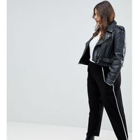 ASOS CURVE Tapered Trousers with Contrast Bind - Black, kolor czarny