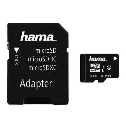 Karta pamięci HAMA microSDHC 16GB Class 10 UHS-I 80MB/s + adapter, 001241380000