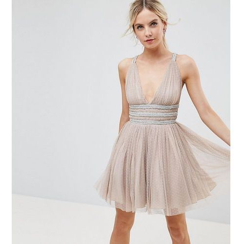 ASOS PETITE Tulle Strappy Embellished Mini Skater Dress - Beige, kolor beżowy