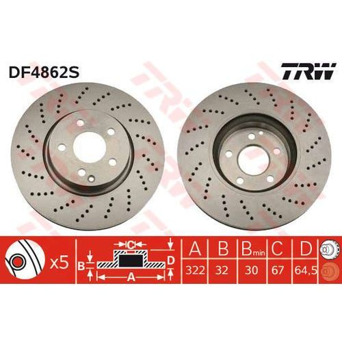 TARCZA HAM TRW DF4862S MERCEDES C280 07-, C320 CDI 07-, C350 07-, E200 CDI 09-