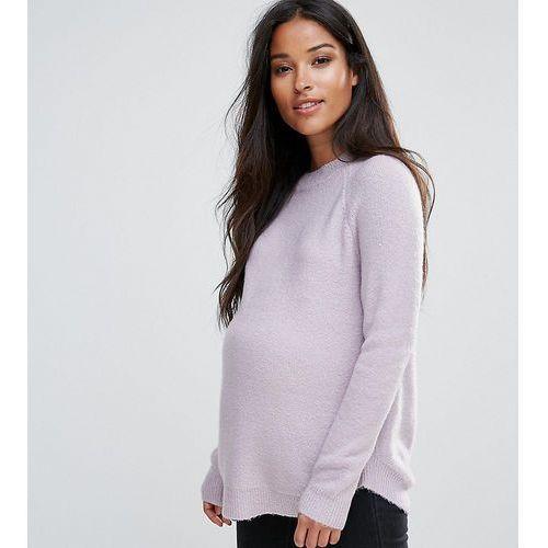 jumper in fluffy yarn with crew neck - purple marki Asos maternity