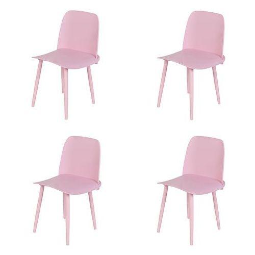 Zestaw 4 krzeseł z tworzywa sztucznego w kolorze jasnoróżowym ze stalowymi nogami - nada marki Qazqa