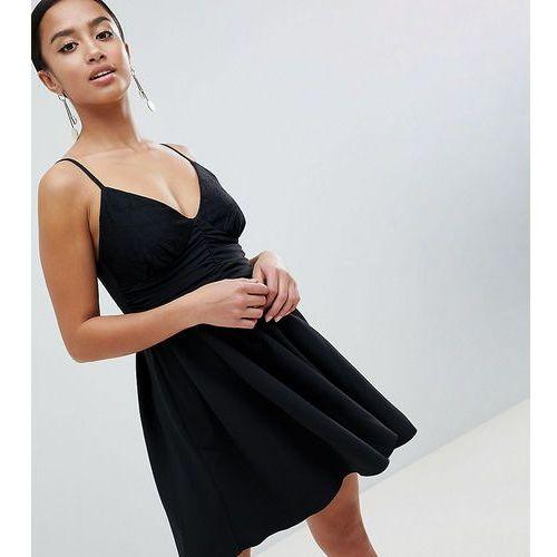 ASOS DESIGN Petite skater mini dress with lace - Black, kolor czarny