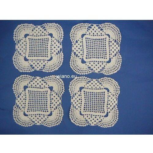 Serwetki szydełkowe ręcznie robione 17x17 cm - komplet 4 szt. (bd-7) marki Twórczyni ludowa