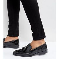 wide fit brogue loafers in black leather with tassel - black, Asos