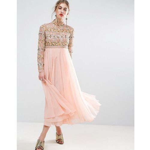 salon high neck embellished midi skater dress with long sleeves - pink, Asos