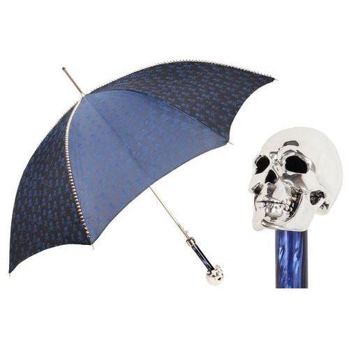 Parasol Pasotti granatowy z ćwiekami i srebrną rączką w kształcie czaszki, 416NT PBT W33PB