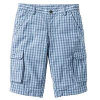 Bonprix Bermudy regular fit niebieski dżins - biały w kratę