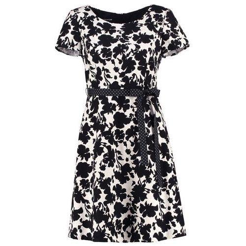 Żakardowa sukienka z wiązanym paskiem, 780022-17007