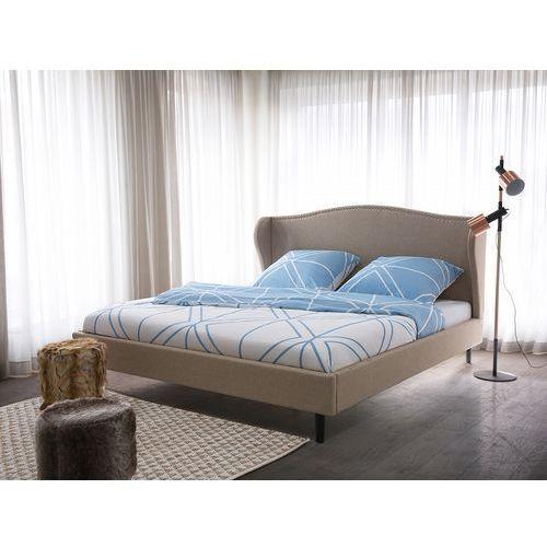 Łóżko beżowe - 180x200 cm - łóżko tapicerowane - stelaż - colmar marki Beliani