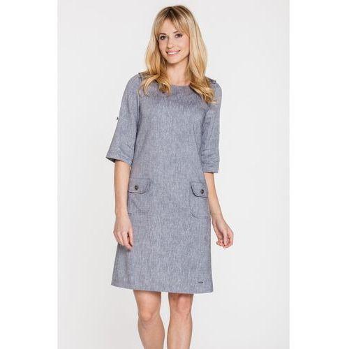 Ciemnoszara sukienka wizytowa z lnem - marki Sobora