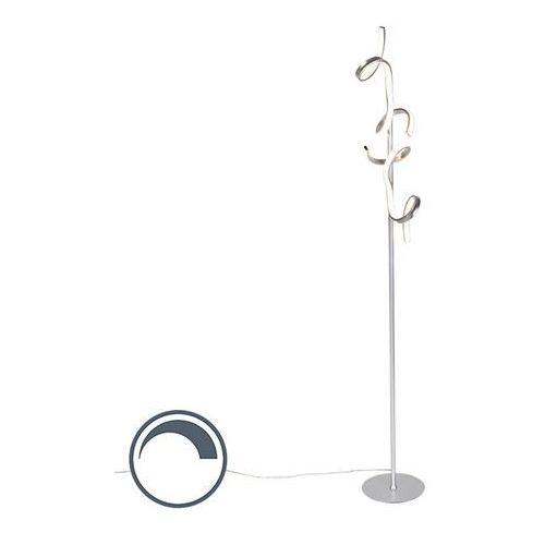 Designerska lampa stojąca srebrna z diodami led i ściemniaczem - krisscross marki Leuchten direct