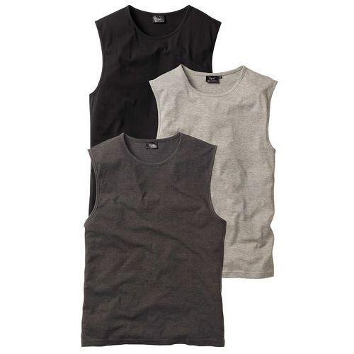 Bonprix Shirt bez rękawów (3 szt.) regular fit antracytowy melanż + jasnoszary melanż + czarny