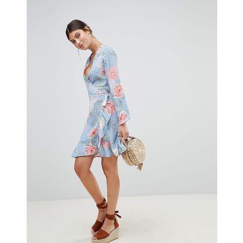floral wrap dress - blue marki Prettylittlething