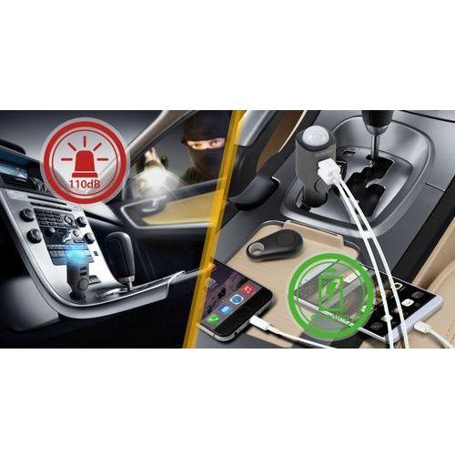 Technaxx alarm samochodowy z czujnikiem ruchu + pilot zdalnego sterowania i ładowarka samochodowa 2x USB 4743 (4260358122663)