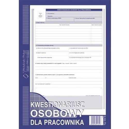 Kwestionariusz osobowy dla pracownika (OFFSET) MICHALCZYK I PROKOP A4 - G0747, NB-2388