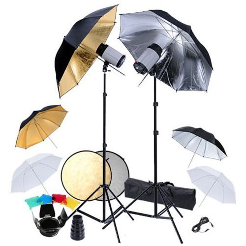 Vidaxl  zestaw studio: 2 lampy, 6 parasolek i blenda 2w1 (8718475815143)