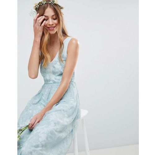 design design bridesmaid delicate lace sheer insert maxi dress - green marki Asos