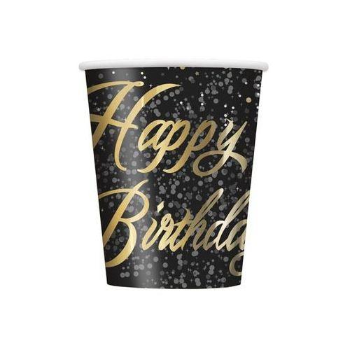 Kubeczki błyszczące Happy Birthday złote - 266 ml - 8 szt.