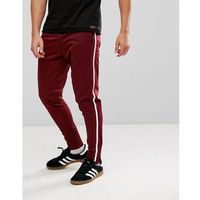 Brave Soul Vintage 1 Stripe Taped Joggers - Red