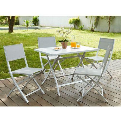 Jadalnia ogrodowa PIRAE z aluminium – składany stół + 4 składane krzesła – siedziska w kolorze szarym