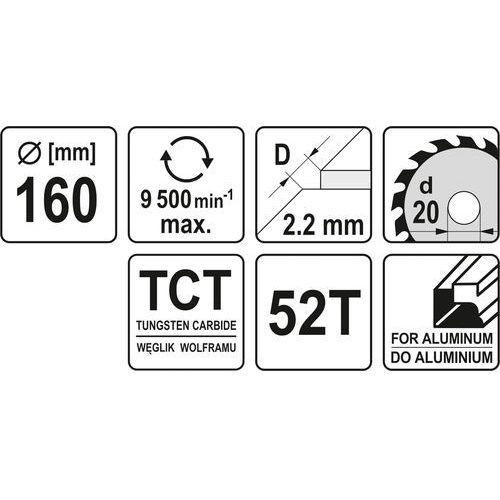 Yato Tarcza widiowa do aluminium 160x52tx20mm yt-60905 - zyskaj rabat 30 zł (5906083609053)