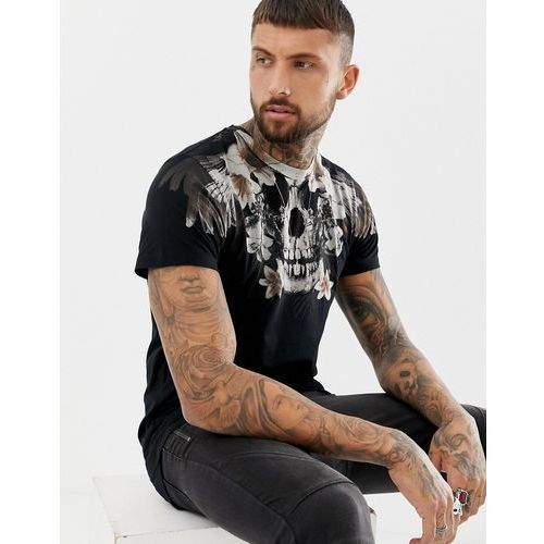 muscle fit t-shirt with skull floral print in black - black, Religion, XS-XL
