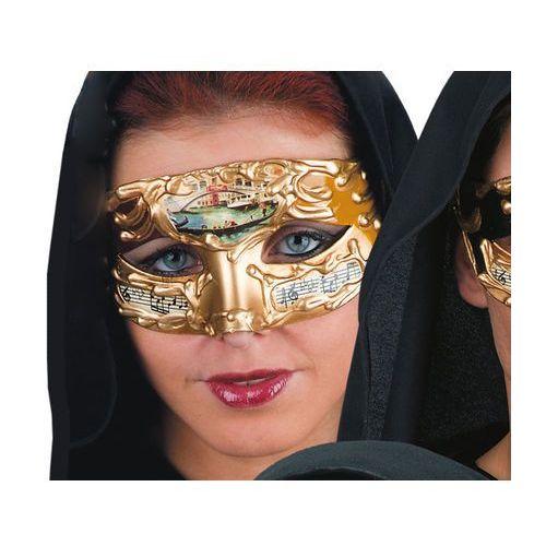 Maska karnawałowa złota z dodatkiem koloru żółtego - 1 szt.