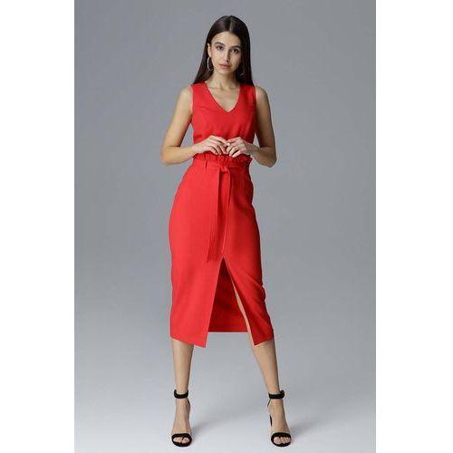 a06c857793 Czerwona dopasowana midi sukienka wizytowa za kolano