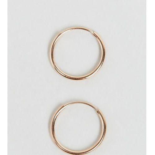 Asos design rose gold sterling silver 9mm hoop earrings - copper