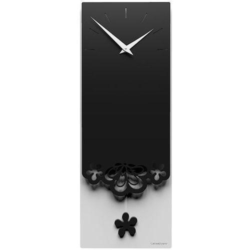 Zegar ścienny z wahadłem Merletto CalleaDesign czarny / biały (56-11-1-5), kolor wielokolorowy