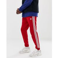 3-stripe skinny joggers with cuffed hem dv1534 red - red marki Adidas originals