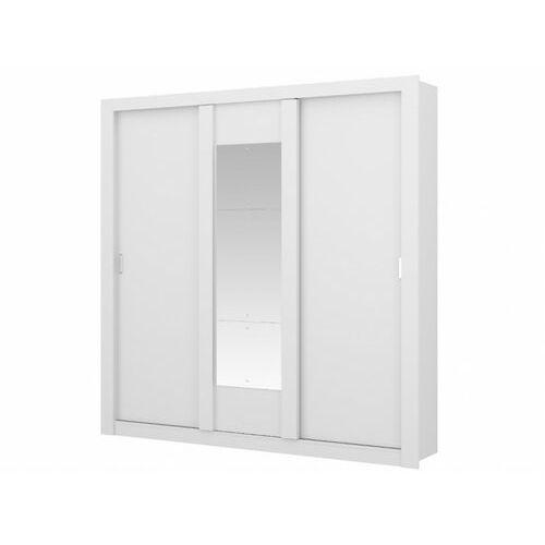 Vente-unique Szafa z lustrem roxane – 3 pary drzwi przesuwanych – długość 220 cm – kolor biały