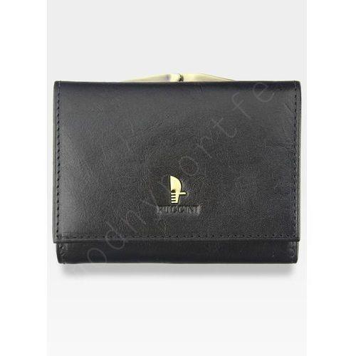 Portfel damski skórzany  klasyczny czarny z biglem 1701p mały - czarny marki Puccini
