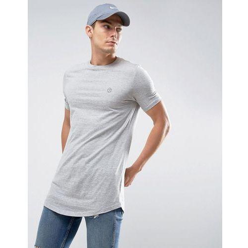 Le Breve Longline Curved Hem Marl T-Shirt - Grey, 1 rozmiar