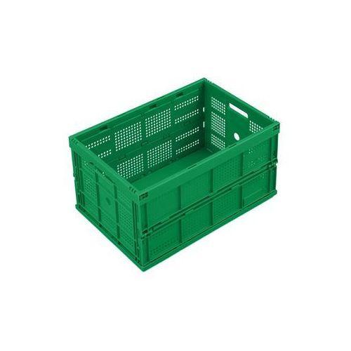 Pojemnik składany z polipropylenu, poj. 60 l, bez pokrywy, zielony, wersja perfo marki Walther faltsysteme