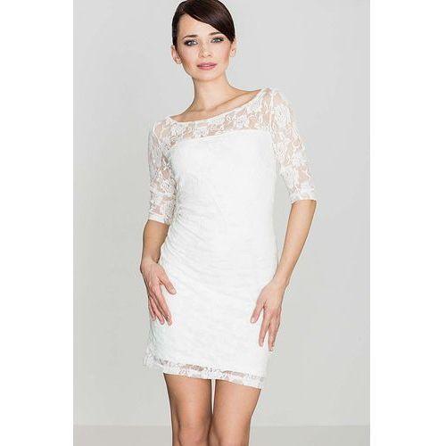 Biały Elegancka Koronkowa Sukienka z Rękawem 3/4, kolor biały