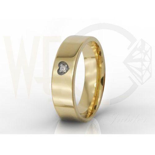 Obrączka damska z twoim odręcznym podpisem i diamentem oprawionym w serce ob-03z-r-d-d marki Węc - twój jubiler
