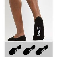 classic 3 pack no show socks in black vxttblk - black, Vans