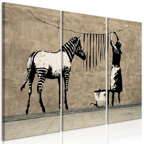 Obraz - Banksy: Pranie zebry na betonie (3-częściowy)