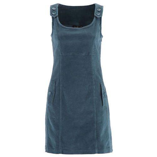 Sukienka sztruksowa ze stretchem bonprix matowy niebieskozielony, kolor fioletowy