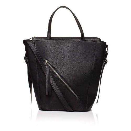 Moe Czarna nowoczesna damska torebka shopper z suwakiem na przodzie