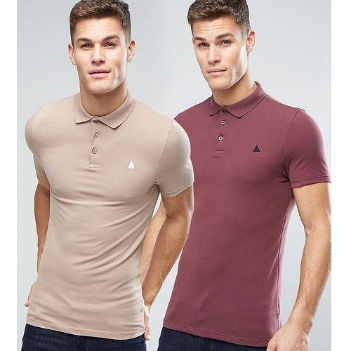 2 pack extreme muscle pique polo shirt in red/beige with logo save - multi marki Asos