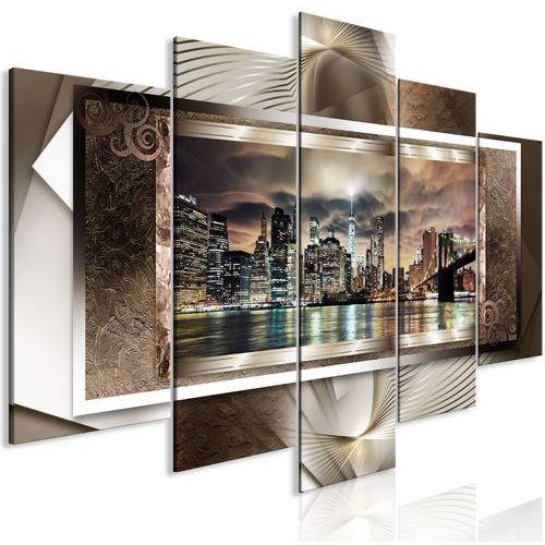 Obraz - Potęga Manhattanu (5-częściowy) szeroki brązowy