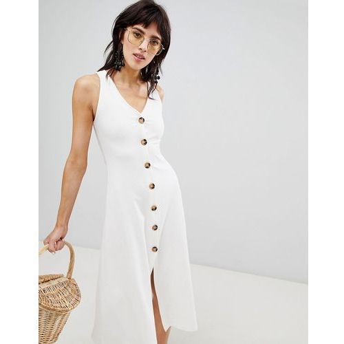 Stradivarius ribbed button front sleeveless dress - White