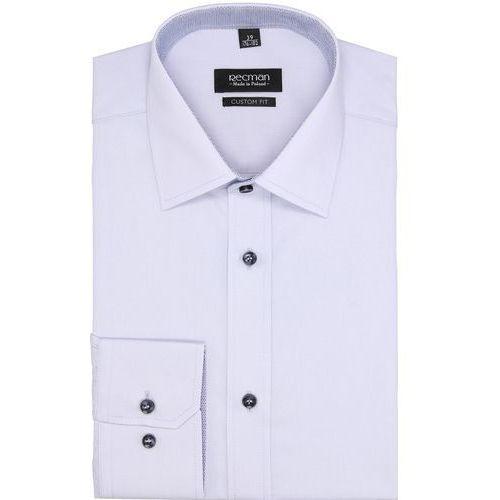 koszula bexley 2625 długi rękaw custom fit niebieski, bawełna
