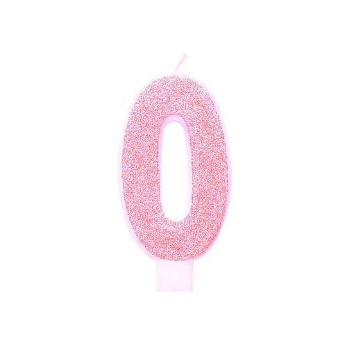 Świeczka cyferka brokatowa różowa - 0 - 1 szt. marki Unique