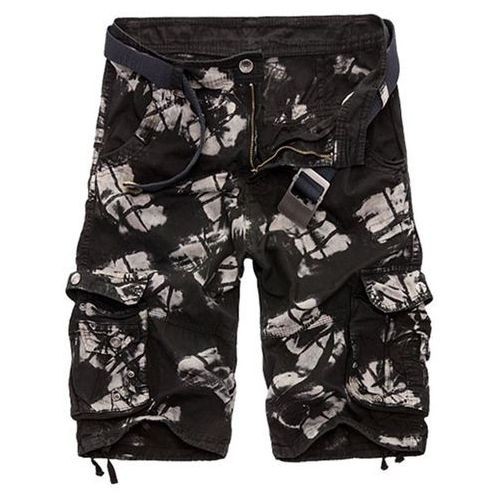 Military style zipper fly multi-pocket loose fit straight leg camo shorts for men marki Rosewholesale