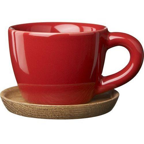 Filiżanka do espresso z podstawką höganäs keramik czerwona marki Rorstrand