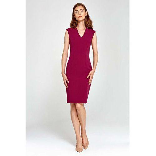 b39521ebe0 Bordowa sukienka ołówkowa bez rękawów z dekoltem v